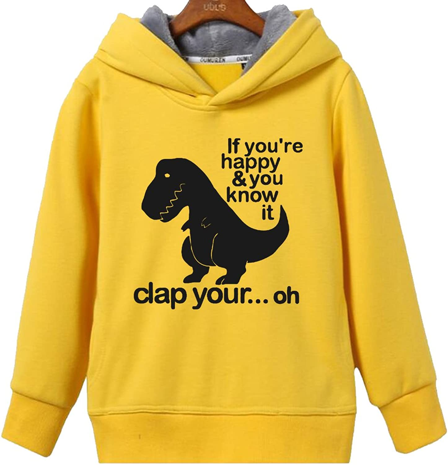 CINFAN Women's T Rex If You're Happy Clap Your Hands Funny Hoodie with Pockets