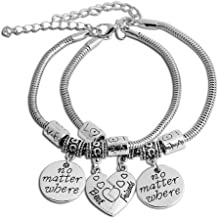 Yellow Chimes Best Friends Forever Silver Plated 2 PCS Heart Charm Couple Bracelet for Girls and Boys