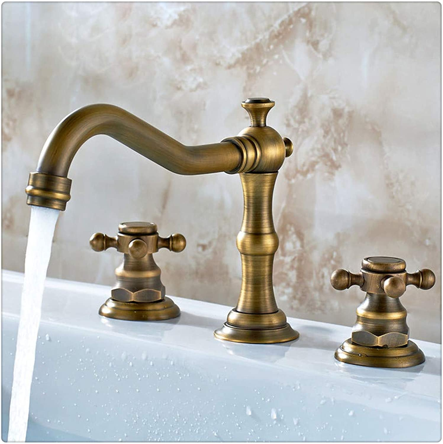 Bathroom Sink Taps Classic 2-Handle Basin Filler Solid Brass Widespread Bathroom Sink Mixer Faucet,Brass