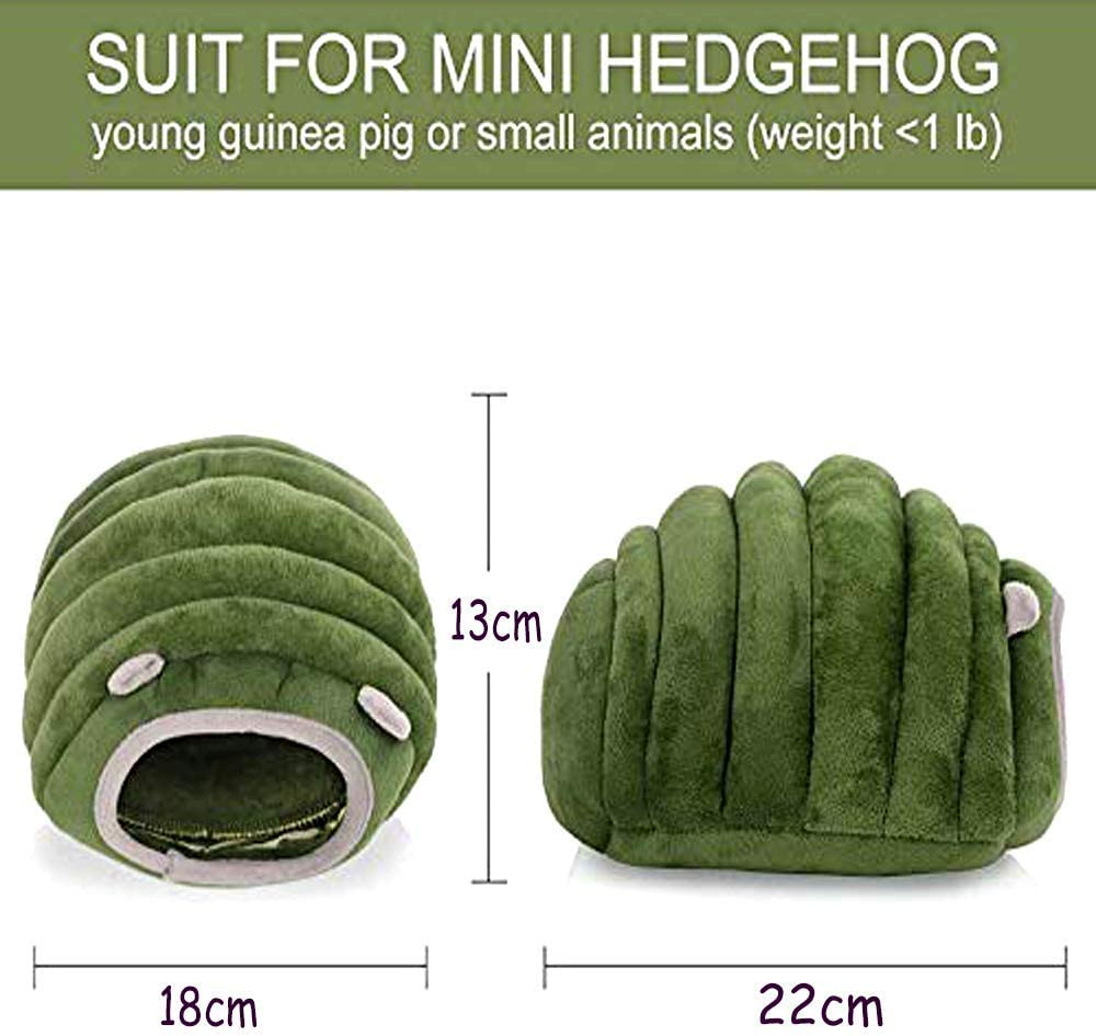 Machine Washable Cozy Hideout Pet Cave Pet Bed with Removable Pad 18x15x12CM, Deep Green YANGWX Winter Warm Small Animals Bed Rabbit Guinea Pig Hamster House Bed Chinchilla House Cage Nest