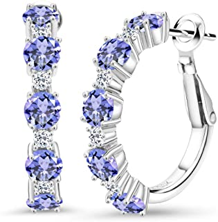 Tanzanite Solitaire Stud Earrings 14k White Gold Over 925 0.50Ct Womens Day