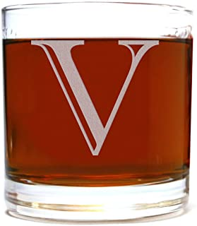 Etched Monogram 10.5oz Rocks Old Fashioned Lowball Glass for Whiskey Scotch Bourbon (Letter V)