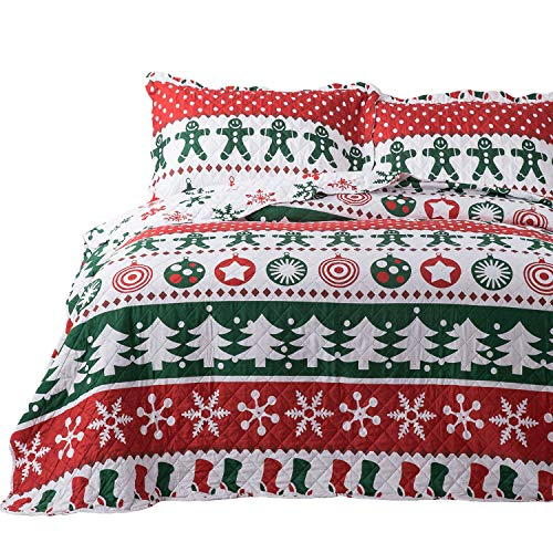 Bedsure Christmas Quilt Set Full/Queen Size (90x96 inches) - Gingerbread Man Pattern - Soft Microfiber Lightweight Coverlet Bedspread for All Season - 3-Piece Bedding (1 Quilt + 2 Pillow Shams)