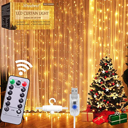 Curtain Lights, Cortina de Luces, Luz de Cortina, 3m x 3m Cortina Luces LED, 8 Modos de Luces, Resistente al Agua Ip42, para Decoración de Navidad, Fiestas, Casa,Jardín,Blanco Cálido