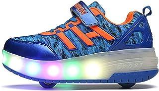 BY0NE Unisex Boys Girls LED Lighting up Single Wheel/Double Wheels Roller Skate Sneakers