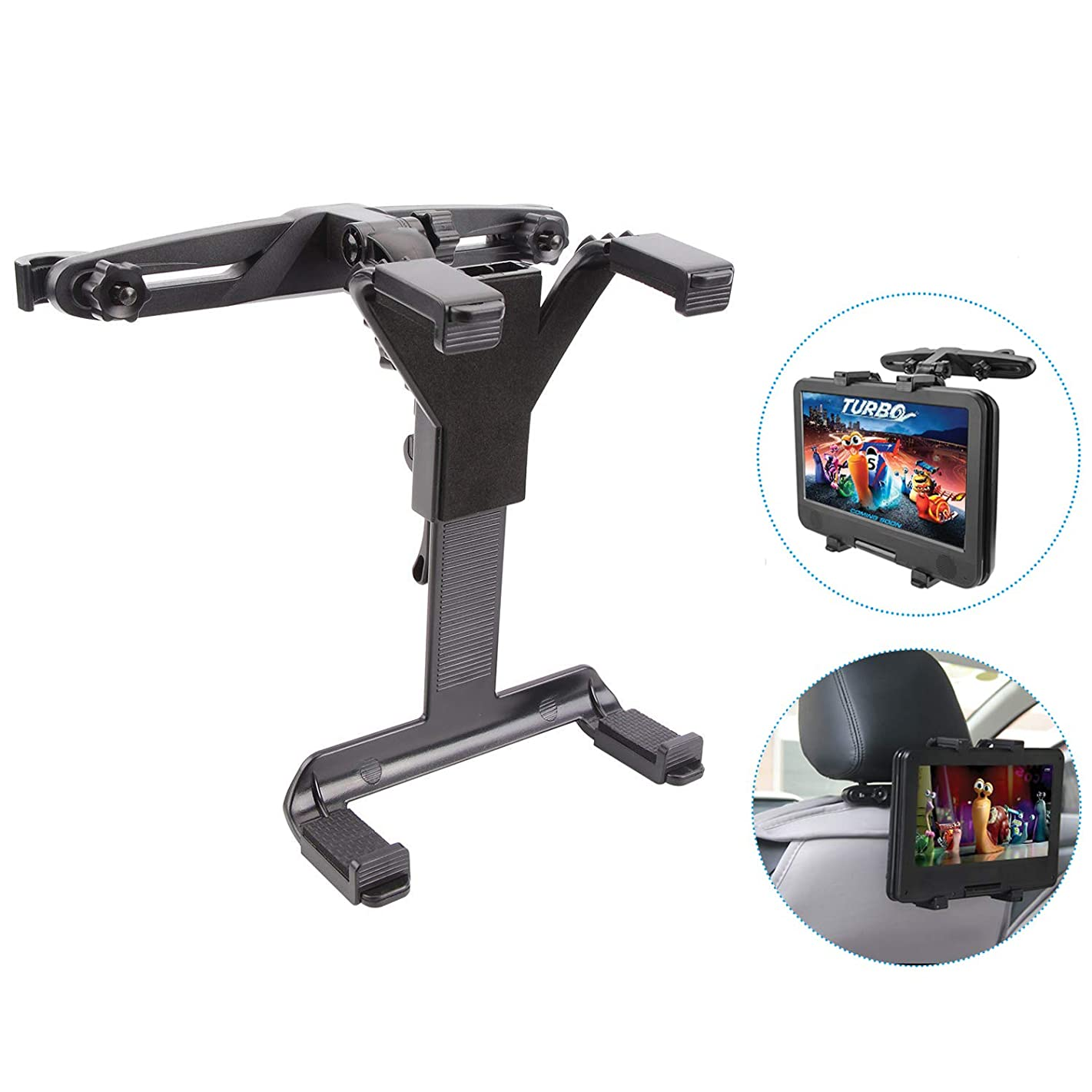 MAYOGA Car Headrest Mount Universal Tablet Holder Stand Car Headrest Tablet Mount Cradle Backseat Bracket Compatible with iPad Air/Mini/Samsung Galaxy Tab/Portable DVD Player/Kindle Fire/7-12 Inches T