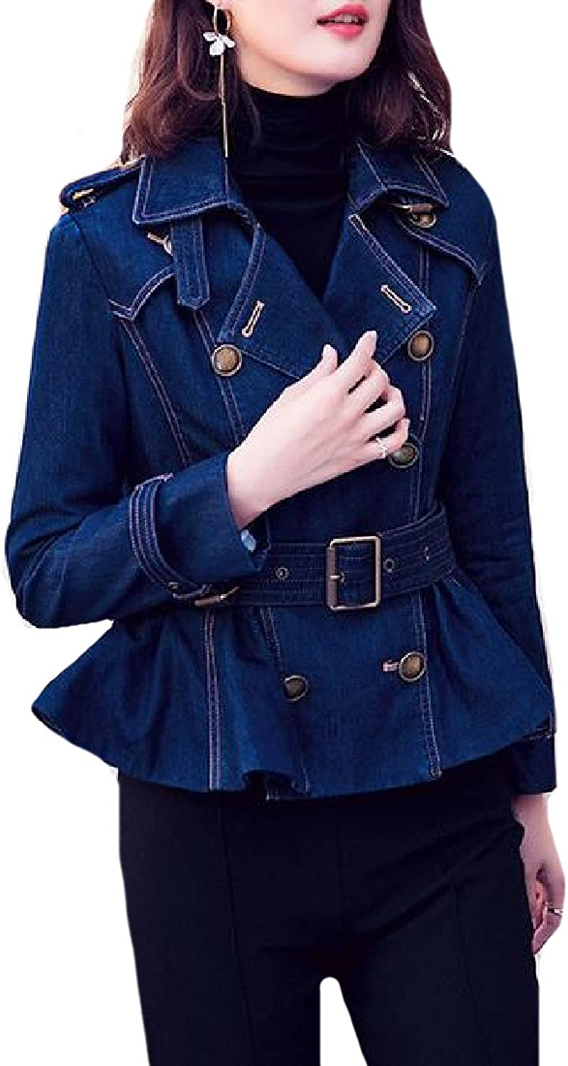 Comfy Women's Long Sleeve DoubleBreasted Cowboy Trenchcoats Jacket