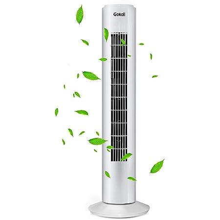 Gotoll Ventilateur Colonne de Bureau Ventilateur Sur Pied Oscillation 75°, 3 Vitesses Ajustable Brasseur d'Air - Blanc - 73cm
