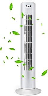 Gotoll Ventilador de Torre 73CM 50W,Ventilador de Pie Oscilación de 80°,3 Velocidades Blanco