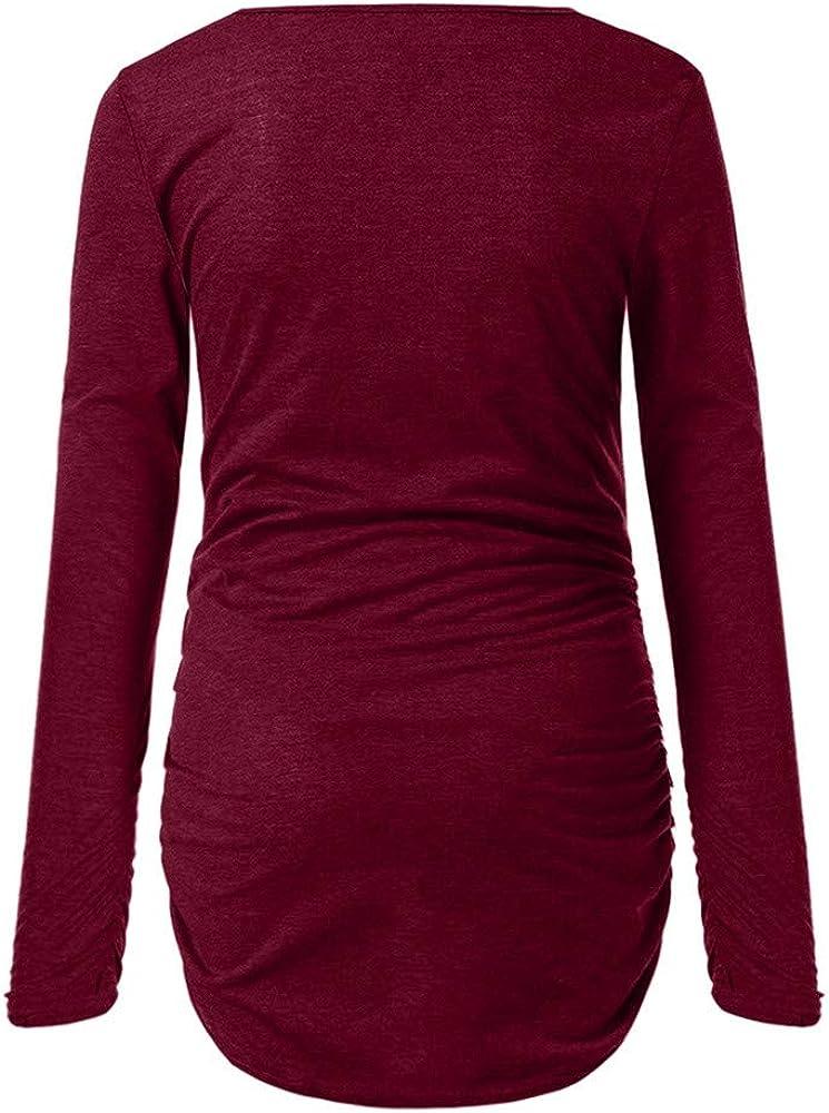 SamMoSon Ropa Embarazada Invierno Divertida Navidad Camiseta Fotos Oto/ño Lactancia Maternidad Encaje Estampado De Mujeres De Navidad Lado Lateral con Mangas Largas Ropa De Maternidad Superior para