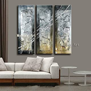CEHSHO 3 Piece/set 100% Hand Painted Thick black silver abstract Canvas Oil Painting Wall Art Picture Home Decoration for ...