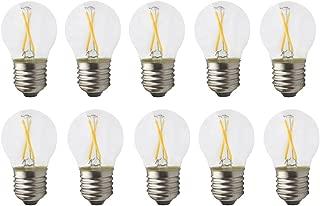 JCKIng 2W Mini E12 LED Filament Bulb, G45 Clear Glass Shape, E12 SES Golf Ball Bulb, Warm White 2700K 160 LM, 10W Incandescent Replacement (Pack of 10)