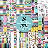 Aufkleber Packung 28 Blatt / 1378 Stück - stilvolles Sortenzubehör für Laptops, inspirierende Stickers Pack-Aufkleber zum Planen oder Dekorieren von Journalen, Kalendern und Laptops,...
