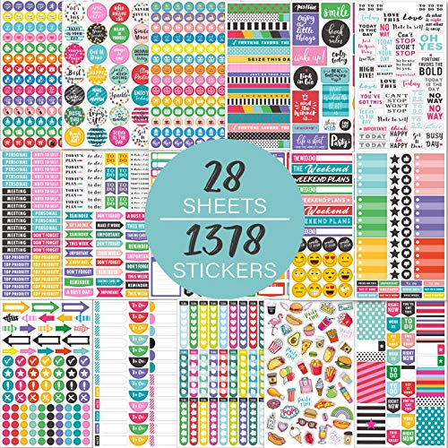 Planner Stickers Pack - 28 Sheets / 1378 Stickers, Stylish Variety Assortment Bundle Planner Accessories for Planning or Decorating Planners, Journals & Calendars