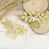 Handmadejewelrylady, Braut-Haarschmuck / Haarkamm / Haaraccessoire, Blätterdesign, goldfarben, Strass