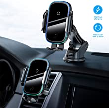 Wireless Car Charger,15W Qi Fast Charging Auto-Clamping Car Mount,Windshield Dash Air Vent Phone Holder Compatible iPhone ...