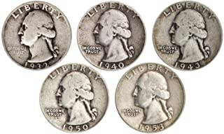 Count of 5-90% Silver Washington Quarters - All Different Dates Fine