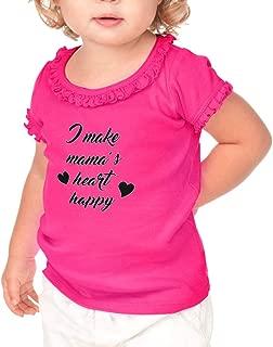 I Make Mama's Heart Happy Toddler Cotton Ruffle Top Tee Sunflower