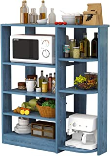 LINPAN Rangement Cuisine Organisateur étagère Four Micro-Ondes Stand 5 Niveaux + étagères à 4 étages en Bois Rack de Cuisi...