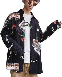 [CAIXINGYI] 韓国 トレンド フラワーシャツ 男性 長袖 緩い 細い コート 春 秋 服 無料ホット シャツ メンズ 余暇 洋服 上着