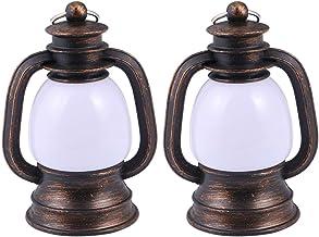 2 peças de lâmpada vintage de acampamento de plástico com LED antigo para pendurar luzes noturnas para caça ao ar livre, c...