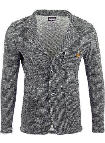 Reslad Herren-Sakko Sportlich Jakett Anzug Jacke Slim Fit Freizeit Blazer-Herren RS-1421 Anthrazit L