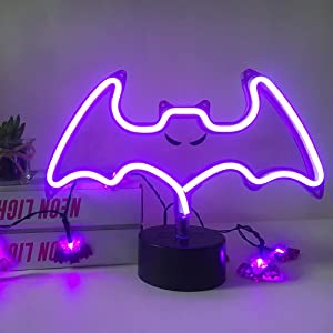 Purple Bat Neon Sign,Halloween Spooky Bat Light with Pattern, Holiday Indoor Table Lamp Decoration,USB or Battery Powered Halloween LED Neon Signs for Halloween Party,Bar,Room Décor,Purple