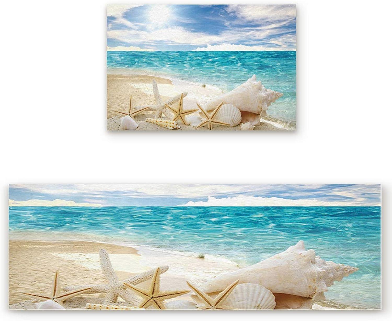 Savannan 2 Piece Non-Slip Kitchen Bathroom Entrance Mat Absorbent Durable Floor Doormat Runner Rug Set - Beautiful Beach Seascape