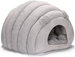 Petshy 猫ベッド 猫ハウス ドーム型 寒さ対策 保温防寒 柔らかい 猫 犬 ベ ッド クッション 小型犬 キャットハウス ペット ベッド 暖かい休憩所 (グレー)