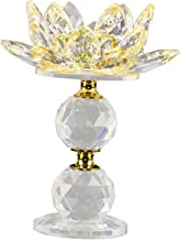"""Fenteer Crystal Lotus Flower Candle Holder 4.72"""" Dia Clear Candle Stand Home Dining Room Party Decoration Ornament - Yellow"""