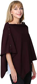 Women's Versatile Knitted Scarf Poncho Sweater with Buttons Light Weight Spring Summer Autumn Shawl Poncho Cape Cardigan