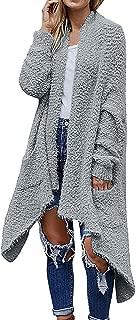Opinionated Women's Long Sleeve Open Front Fuzzy Fleece Sweater Knit Cardigans Outwear with Pockets