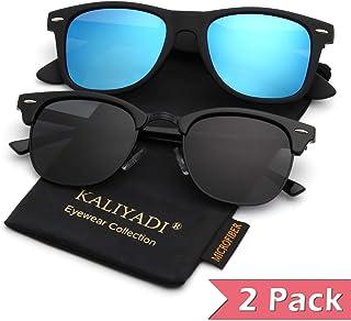 3491c69aad Mens Polarized Sunglasses for Women Semi Rimless Frame Driving Sun glasses:100%  UV Blocking