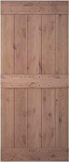 JUBEST 36in 84in Natural Knotty Alder Shiny Interior Sliding Barn Door Slab(Disassembled&Pre-grooved),3 Bars