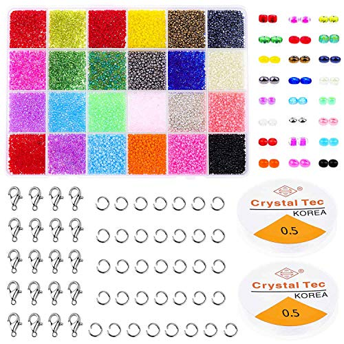 Pony Seed Beads, Cridoz 14400pcs Friendship Bracelet Beads Small Rainbow Beads with Lobster Clasps, Open Jump Rings and Elastic String for Jewelry Bracelets Necklace Making