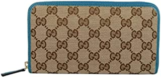 Gucci Women's Beige Original GG Canvas With Leather Trim Zip Around Wallet 363423 8616