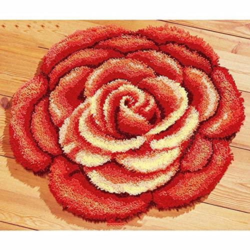 DIY Mat Batternance Kit De Travail De Crochetting De Crochetting De Broderie De Broderie Gratuite Livraison Livraison Gratuit 3D Lock Hook Tap Kits Bigue Ponone Red(Size:85 * 75cm)