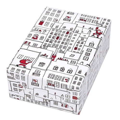 Rouleau de papier cadeau 50 cm x 50 m Motif Manhattan de Noël original non seulement pour les enfants. Sculpture de la ville avec Père Noël sur papier laqué blanc brillant Pour Noël, enfants