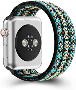 ZEROFIRE Compatible with Apple Watch Elastics Band 38mm/40mm 42mm/44mm for Women Men Pattern Stretch Bands for iWatch Series 6/5/4/3/2/1, Double-layer Fashion Handmade Replacement Strap