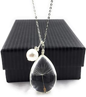 Popular Dandelion Christmas Wish Pendant Necklace with Swarovski Crystal Pearl Charm on 18 inch Sterling Silver Chain, by Aimee Tresor