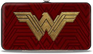 Buckle-Down Hinge Wallet - Wonder Woman 2017 Icon + Tiara Star Reds/Golds