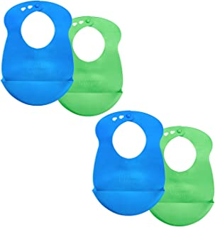 Tommee Tippee Roll 'n' Go Baby Pouch Drip Catcher Baby Bib, 7+ Months - Blue and Green, 4 Pack
