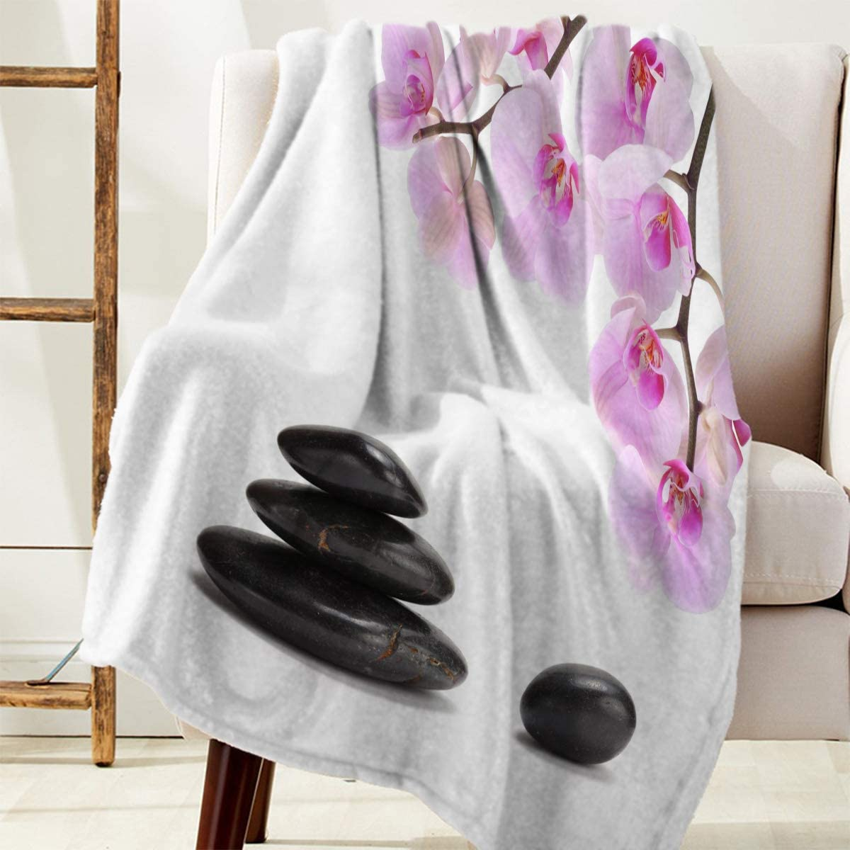 FAMILYDECOR Pink Orchid and Black Fla Lightweight Stones San Jose Mall Cash special price Blanket