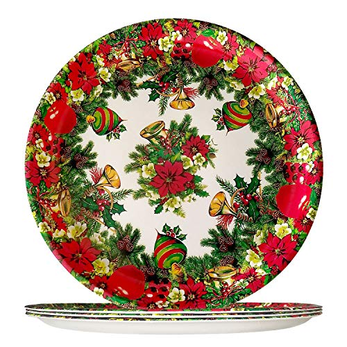 4 Piece Plastic Dinner Plates - Lightweight Colorful Melamine Dinnerware Sets, Round Red Salad Bread & Butter Plate, Christmas Elegant Decorations and Indoor or Outdoor Party Wedding Birthday Gifts