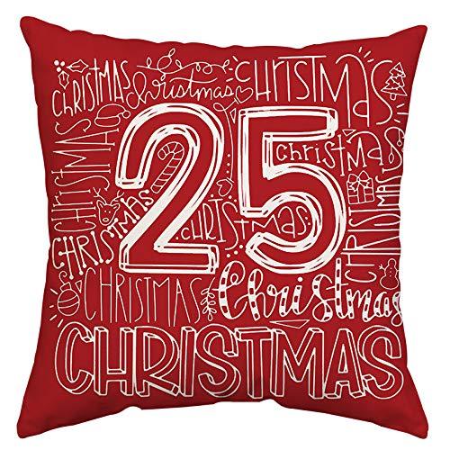 GTEXT - Funda de almohada de Navidad, decoración navideña, rojo, 25 fundas de almohada de Navidad, funda de cojín para sofá, decoración del hogar, almohadas de lino de 18 x 18 pulgadas