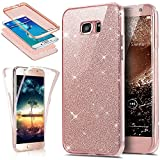 Coque Galaxy S7 Edge,Etui Galaxy S7 Edge,Intégral 360 Degres avant + arrière Full Body Protection Bling Brillant Glitter Transparent Silicone Gel Case Coque Housse Etui pour Galaxy S7 Edge,Or rose