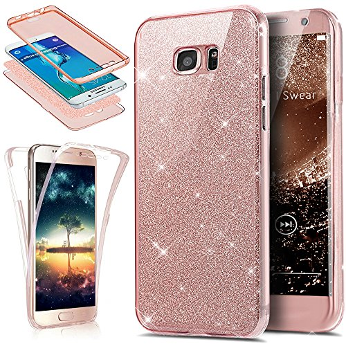 Funda Galaxy S6 Edge Plus,ikasus Brillantes Lentejuelas Estrella Brillo Transparente TPU Silicona 360°Full Body Fundas Skin Cover Carcasa Silicona Funda Case para Galaxy S6 Edge Plus,oro rosa
