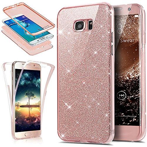 Kompatibel mit Galaxy S7 Edge Hülle Schutzhülle,Full-Body 360 Grad Bling Glänzend Glitzer Durchsichtige TPU Silikon Hülle Handyhülle Tasche Front Cover Schutzhülle für Galaxy S7 Edge,Rose Gold
