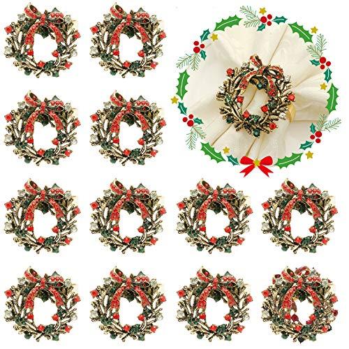 Weihnachtsserviettenringe, 12 Stück, Weihnachtskranz, Serviettenhalter, Ringe für Weihnachten, Urlaub, Abendessen, Hochzeit, Party, Bankett, Abendessen, Tischdekoration