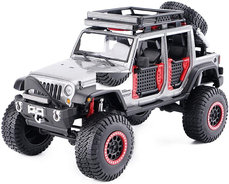 KKD Scale-Modellfahrzeuge 1 24 modell auto legierung zurückziehen spielzeugauto, hohe simulation diecast metall modell, jeep wrangler modell spielzeug fahrzeug Mini Fahrzeuge (Farbe   Silber)